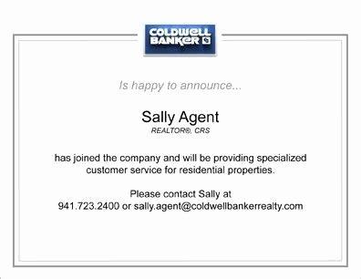 new real estate agent announcement letter tomyumtumweb com