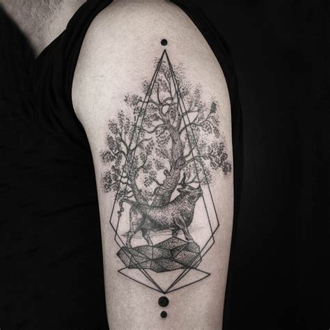 tattoo shoulder dotwork bull tree dotwork tattoo on shoulder best tattoo ideas