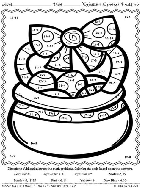 easter math coloring page quot egg quot cellent equations math easter printables color by