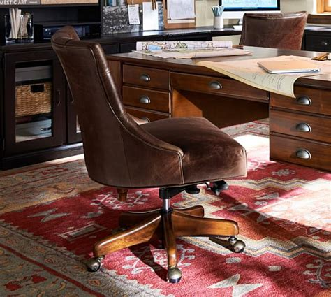 tufted swivel desk chair tufted leather swivel desk chair pottery barn