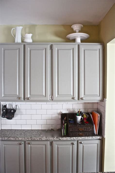 Yellow Walls Grey Cabinets Grey Cabinets Yellow Wall Subway Tile Granite Kitchen