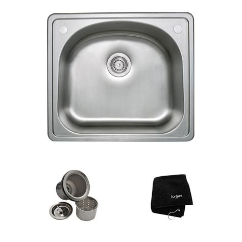 Kraus Stainless Steel Kitchen Sinks Kraus Drop In Stainless Steel 25 In 2 Single Basin Kitchen Sink Kit Ktm24 The Home Depot