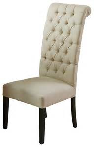 Tufted back dark beige fabric chair transitional dining chairs