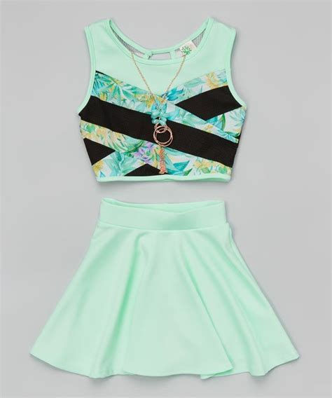 Set Noni Skirt Clothes just crop top with necklace and skater skirt set for mint color clothing