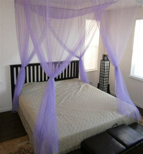 Purple Bed Canopy Purple 4 Poster Bed Canopy Mosquito Net King