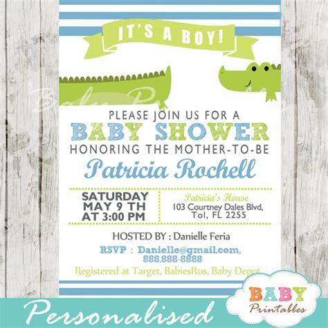 Alligator Baby Shower by Lime Green Blue Alligator Baby Shower Invitation D145