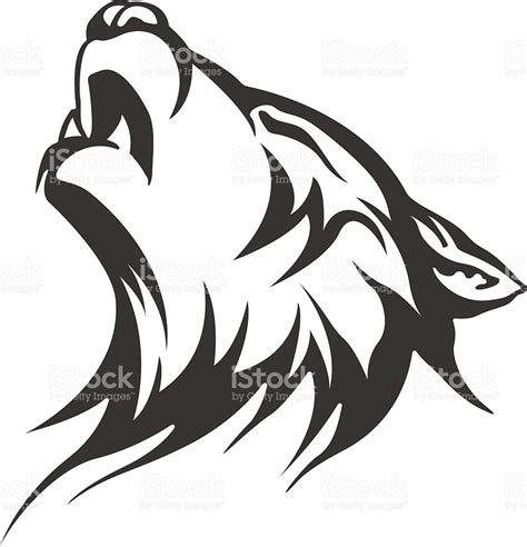 vector wolf tattoo mens tattoo womens tattoo stock vector