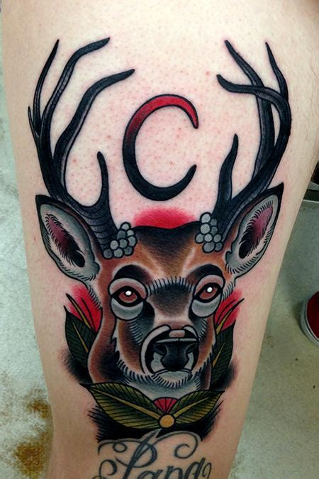 traditional deer tattoo deer moon by jonathan montalvo tattoonow