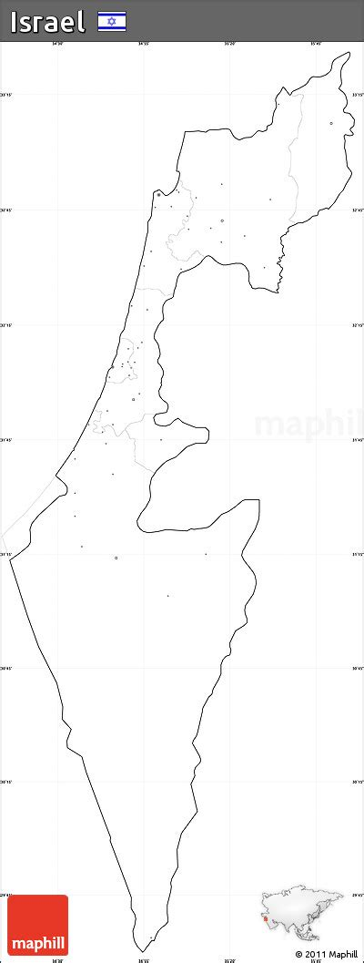 Free Outline Map Of Israel by Free Blank Simple Map Of Israel Cropped Outside No Labels
