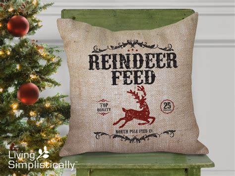 reindeer feed burlap pillow traditional decorative