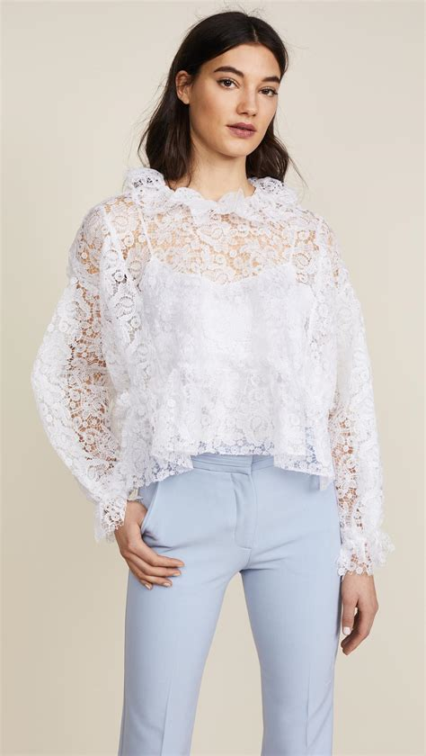 White Lace Skirt And Blouse by Lyst Jourden White Lace Blouse In White
