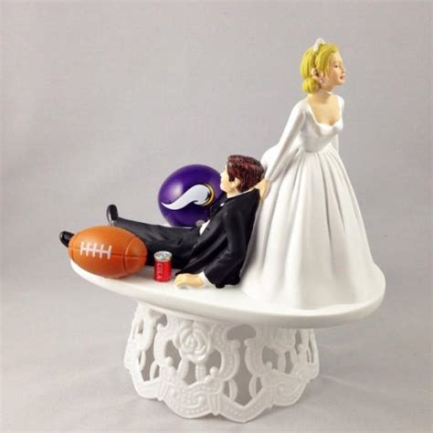 Handmade Cake Topper - handmade wedding cake toppers nfl themed minnesota vikings