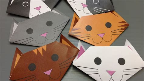 Paper Folding Cat - free origami cat paper print your own cats