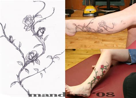 rose vine tattoo on leg 24 awesome vine designs