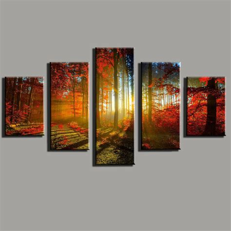 Cuadros De Home Interiors 5 panel canvas print painting cuadros de lienzo forest and