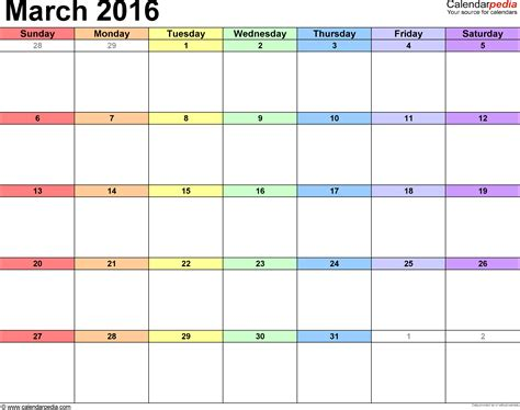 2016 march month calendar printable printable calendar march 2016 calendars for word excel pdf