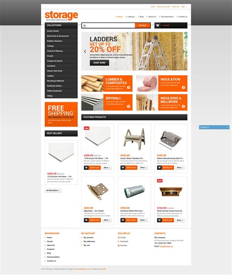Shopify Template building materials shopify theme 51968