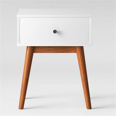 mid century modern accent table porter mid century modern two tone side table white brown