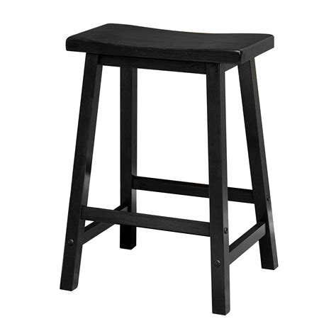 Wood Counter Stools by Winsome Wood 24 Inch Saddle Seat Counter Stool Black