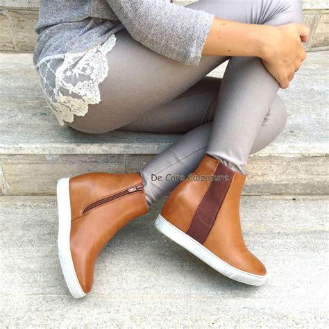 stivaletto zeppa interna scarpe donna sneakers passeggio con zeppa interna stivali