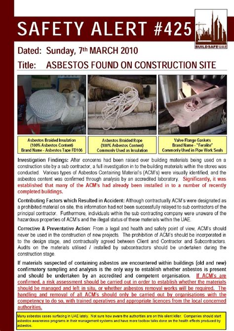 safety bulletin template safety alert asbestos found on construction site