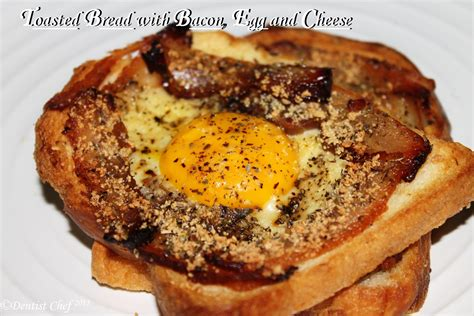 breakfast supper oven toasted bread  bacon sunny