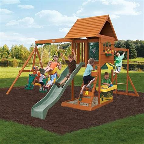 wood swing set best rated wooden backyard swing sets for older kids on