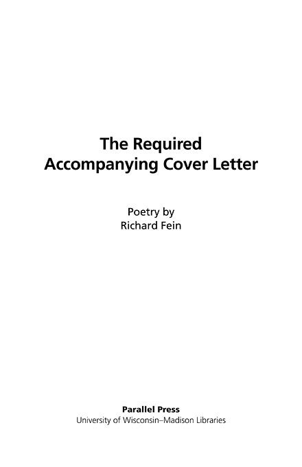 Letter Cover Page The Literature Collection The Required Accompanying Cover Letter Poetry Title Page The