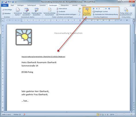 Brief Word Formatierung Domus 1000 Seriendruckfunktion Domus Software Ag