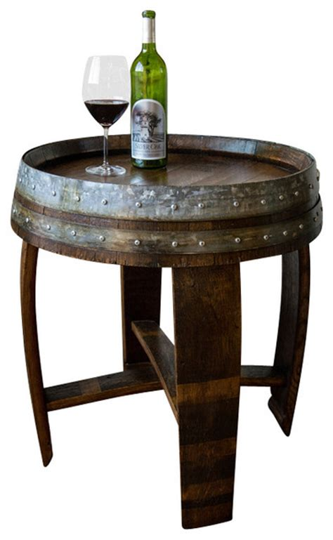 barrel accent table banded wine barrel side table farmhouse side tables and