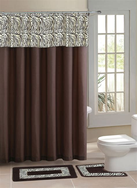 shower curtain set with rugs brown zebra stripe shower curtain 15 pcs bath rug mat contour hooks bathroom set ebay