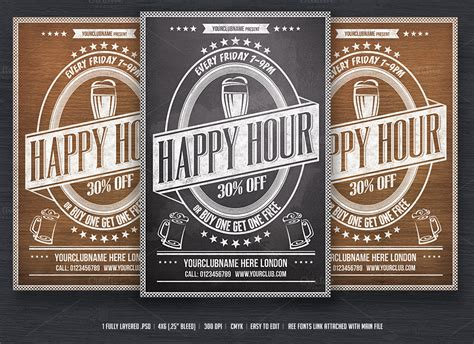 Happy Hour Flyer Template Flyer Templates On Creative Market Happy Hour Flyer Template Free