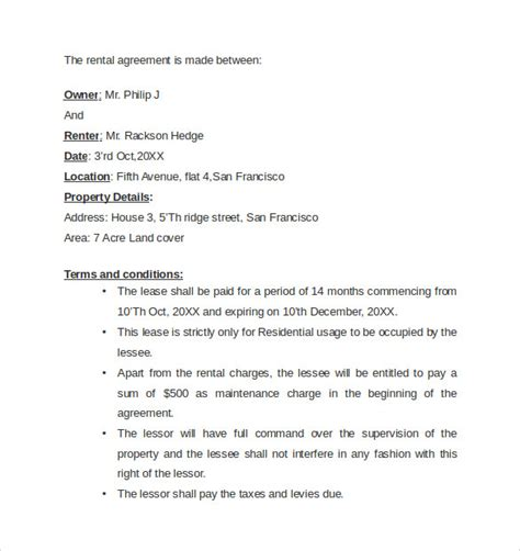 Letter Of Agreement Exles Sle Rental Agreement Letter Template 7 Free Documents In Word Pdf