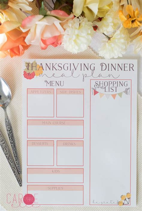 printable meal planner by carrie lindsey thanksgiving meal planning printables carrie elle