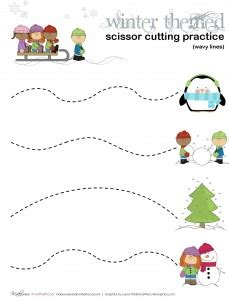 theme line winter winter scissor cutting practice sheets printables