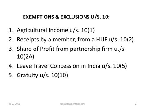 income exempt under section 10 income exempt under section 10 for assessment year 2016 17