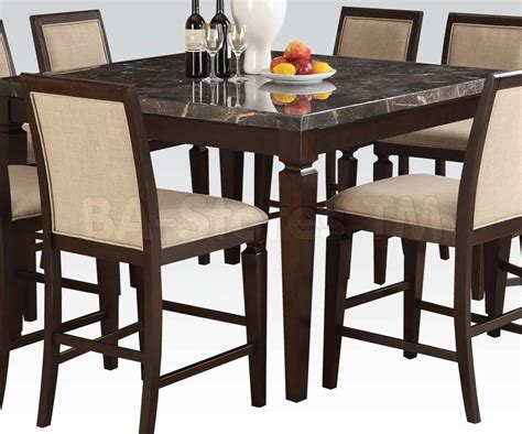 marble top bar height table agatha espresso counter height table with black marble top bar tables sets af 72485 2