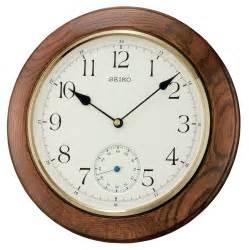 Silent Wall Clocks by Seiko Clocks Dark Oak Wooden Circular Silent Wall Clock
