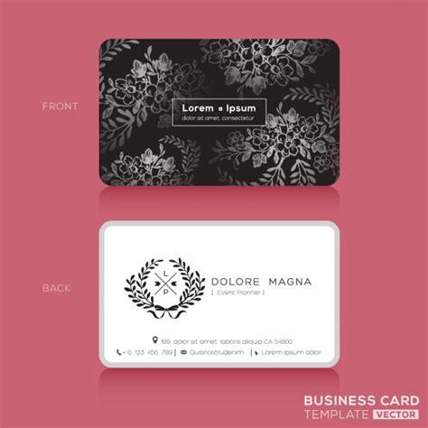 Kostenlose Vorlage Visitenkarten Schwarz Blumenweinlese Elegante Visitenkarten Design Vorlage Der Kostenlosen Vektor