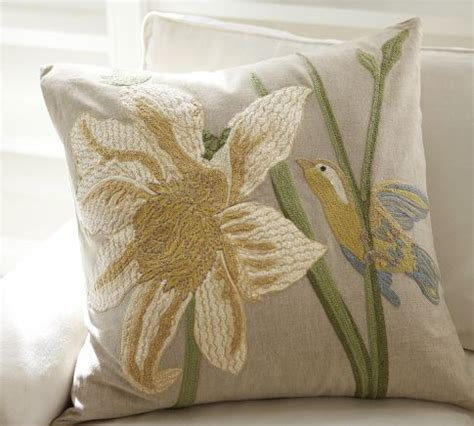bird and flower embroidered pillow cover traditional