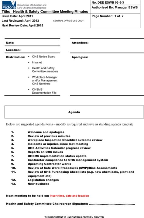 safety meeting minutes template 12 health and safety committee meeting minutes