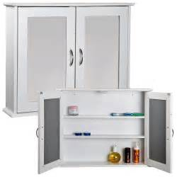 white mirrored double door bathroom cabinet storage cupboard wall mount unit mdf ebay