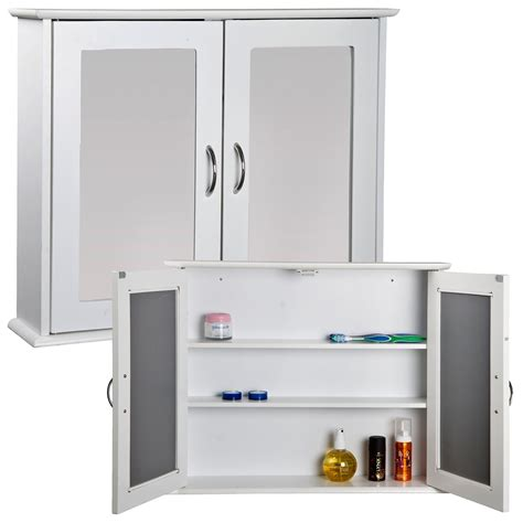 White Bathroom Cupboard white mirrored door bathroom cabinet storage cupboard wall mount unit mdf ebay