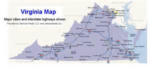 map of virginia and carolina with cities map of virginia virginia state map