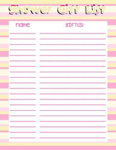 printable bridal shower gift list template free printable baby shower checklist baby shower gift