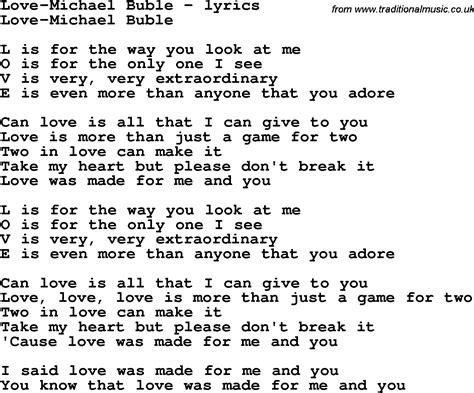 song lyrics for michael buble