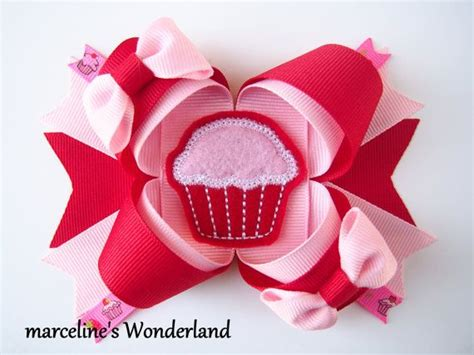 valentines day bow s day hair bow cupcake hair bow pink cupcake