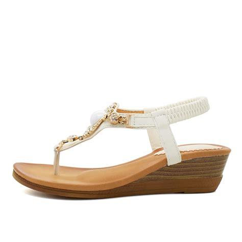 womens slingback sandals womens low wedge heel diamante sandals toe post