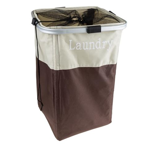 Brown Collapsible Canvas Laundry Basket With Mesh Brown Laundry