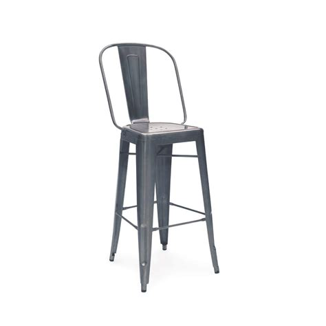 charcoal gun metal high back tolix bar stool